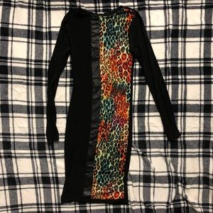 Bodycon Stretchy Black and Leopard Print Dress